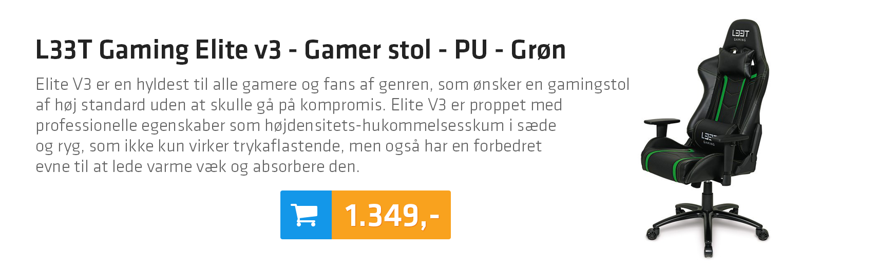 L33T Gaming Elite v3 - Gamer stol - PU - Grøn
