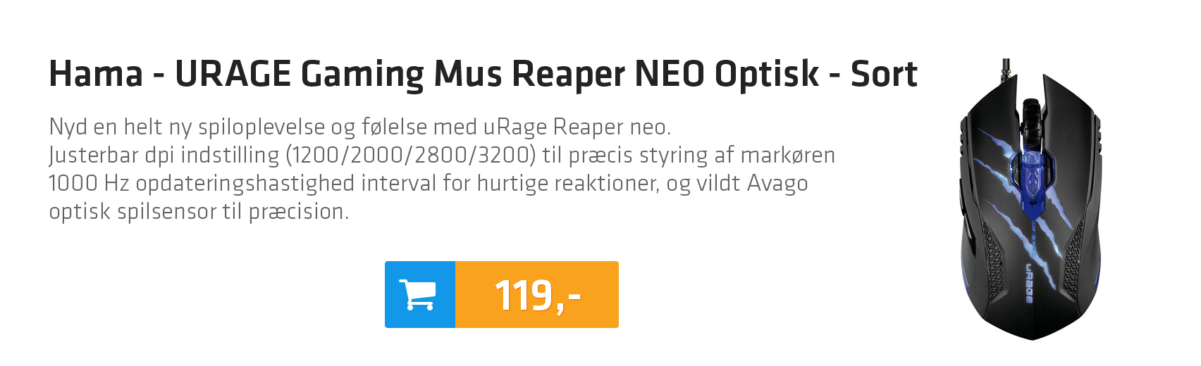 Hama - URAGE Gaming Mus Reaper NEO Optisk - Sort