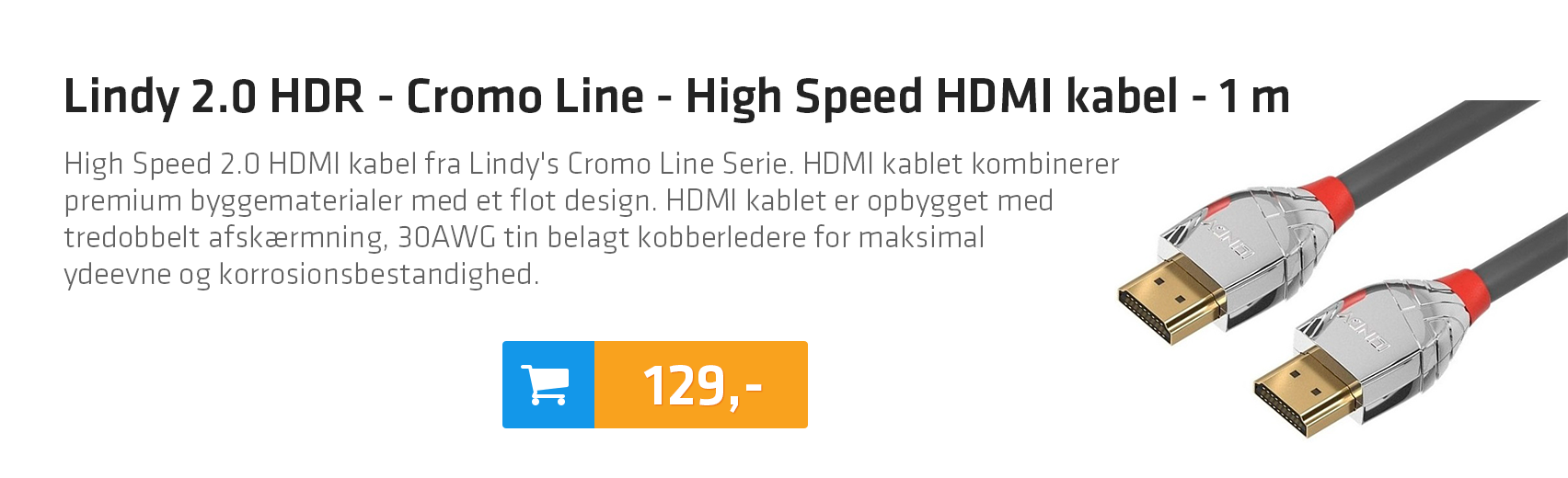 Lindy 2.0 HDR - Cromo Line - High Speed HDMI kabel - 1 m