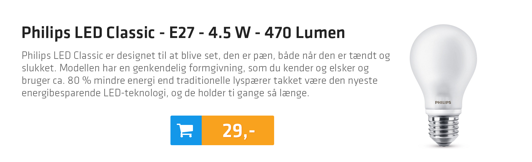 Philips LED Classic - E27 - 4.5 W - 470 Lumen
