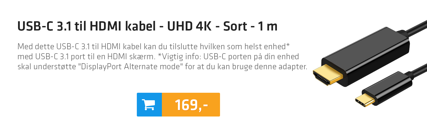 USB-C 3.1 til HDMI kabel - UHD 4K - Sort - 1 m