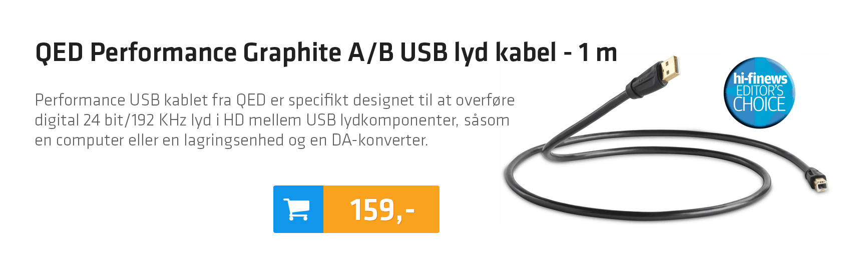 QED Performance Graphite A/B USB lyd kabel - 1 m