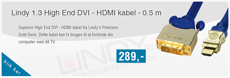Lindy High End DVI - HDMI kabel - 0.5 m