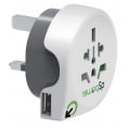 Q2 Power Verden til UK rejseadapter med USB port