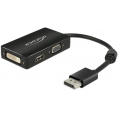 Delock Displayport til HDMI/VGA/DVI adapter kabel - Sort