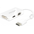 Delock Displayport til HDMI/VGA/DVI adapter kabel - Hvid