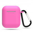 AirPods silikone cover med krog - Pink