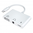 Lightning hub Minijack + USB adapter kabel - Oplad og afspil