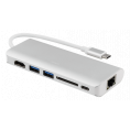 USB-C 3.1 Multi-Port hub - 6 vejs - Sølv