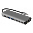 USB-C 3.1 Multi-Port hub - 6 vejs - Grå