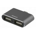 USB-C 3.1 mini hub til 2 x 2.0 USB - 2 port - Grå