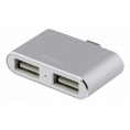 USB-C 3.1 mini hub til 2 x 2.0 USB - 2 port - Sølv