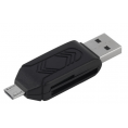 USB 2.0 OTG Micro SD multi kortlæser - Sort