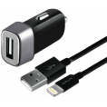 Puro - 12V Billader USB-A 5W m/Lightning kabel - Sort