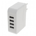4 ports USB ladestation 230V - 4 x 5V USB, 4,5A