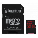 Kingston Canvas React UHS-I U3 Micro SDXC kort - 64GB - Class 10