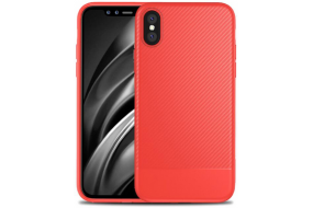 iPhone X Carbon cover - TPU - Rød